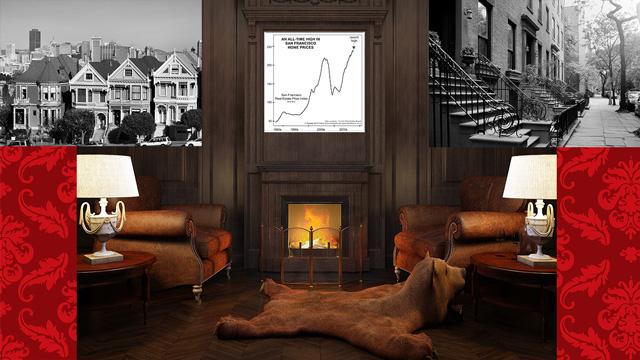 История показывает корреляцию между ценами на недвижимость и акции (перевод с elliottwave com)
